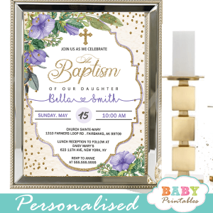 gold purple violet flowers baptism invitations girl invitaciones para bautizo