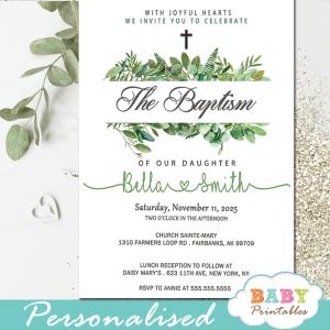 boy girl gender neutral green leaves golden cross baptism invites invitaciones para bautizo