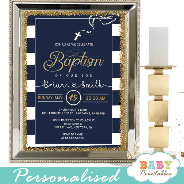 Navy Blue White Striped Baptism Invitations D800 Baby Printables