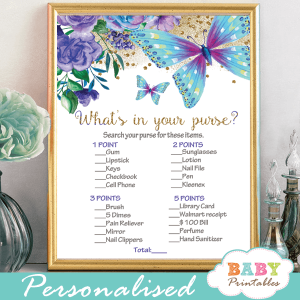 flowers and butterflies purple and turquoise baby shower games purple mauve girl hand painted