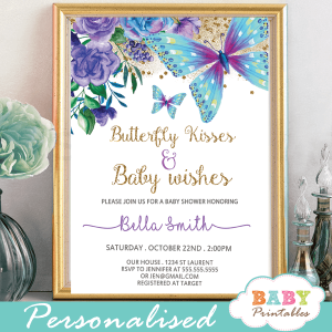 floral purple and turquoise butterflies baby shower invitations gold sprinkle girl