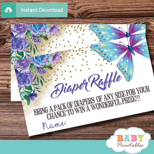 purple and turquoise butterfly diaper raffle tickets flowers gold sprinkle