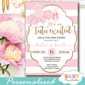 tutu baby shower invitations ballerina ballet girl pink white striped gold glitter