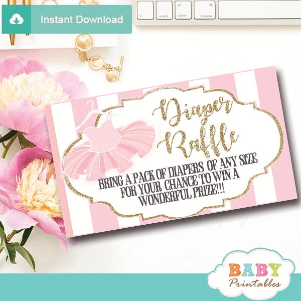 ballet ballerina tutu diaper raffle tickets pink white gold