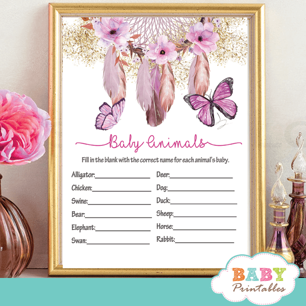 bohemian dream-catcher pink flowers and butterflies baby shower games girl hand painted watercolor