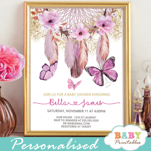 butterflies baby shower invitations bohemian feathers american indian dream catcher pink florals