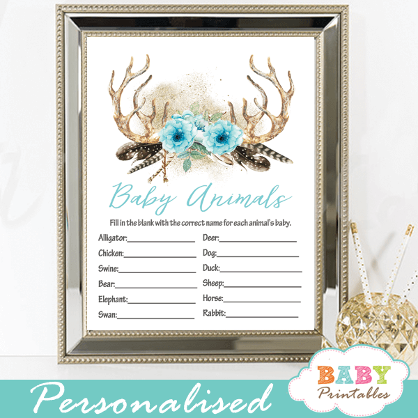 floral blue deer antler baby shower games boy boho chic feathers