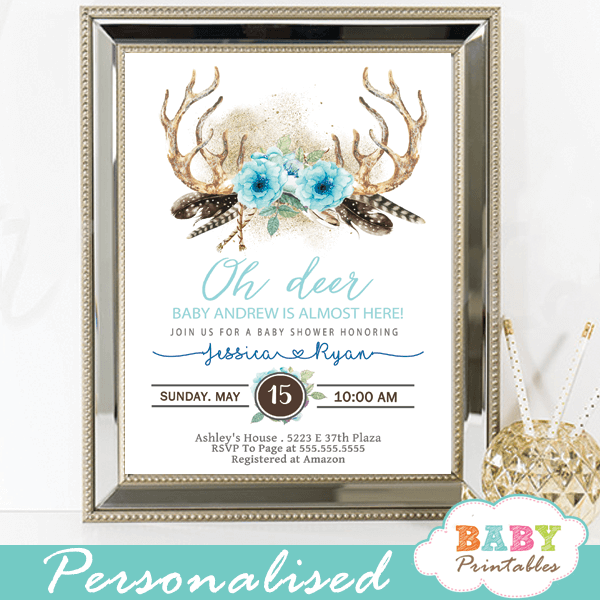 photograph regarding Printable Deer Antlers named Blue Floral Deer Antler Youngster Shower Invites, Boho - D322