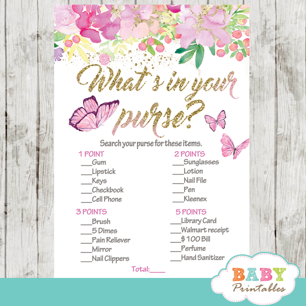 flowers and butterflies baby shower games pink girl hand painted