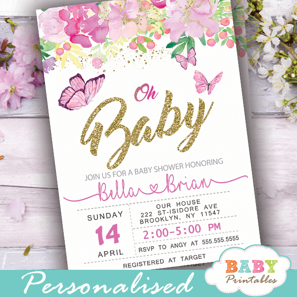 baby shower invitations with butterflies and flowers pink peonies girl