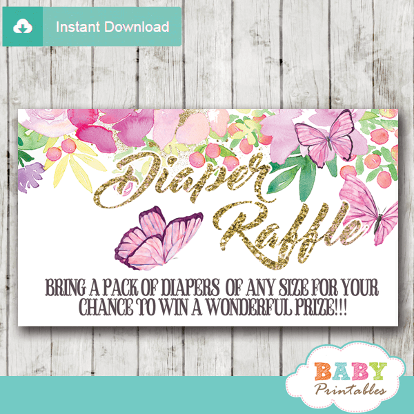 pink flowers and butterflies diaper raffle tickets watercolor