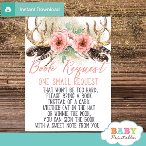 coral pink floral antler baby shower book request cards deer invitation inserts boho chic feathers girl