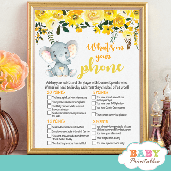floral grey yellow gender neutral elephant baby shower games