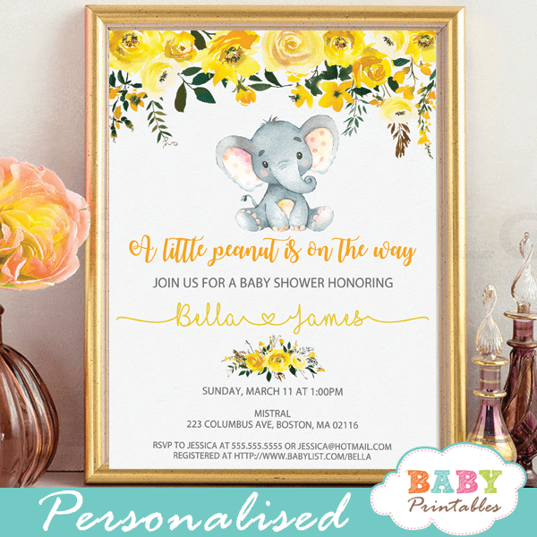 floral yellow elephant baby shower invites gender neutral grey little peanut