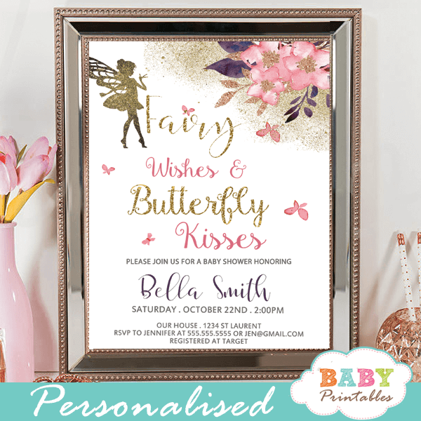 enchanted fairy baby shower invitations butterflies blush pink purple cherry blossom flowers