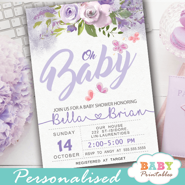 pink and purple butterfly baby shower invitations girl lavender mauve flowers