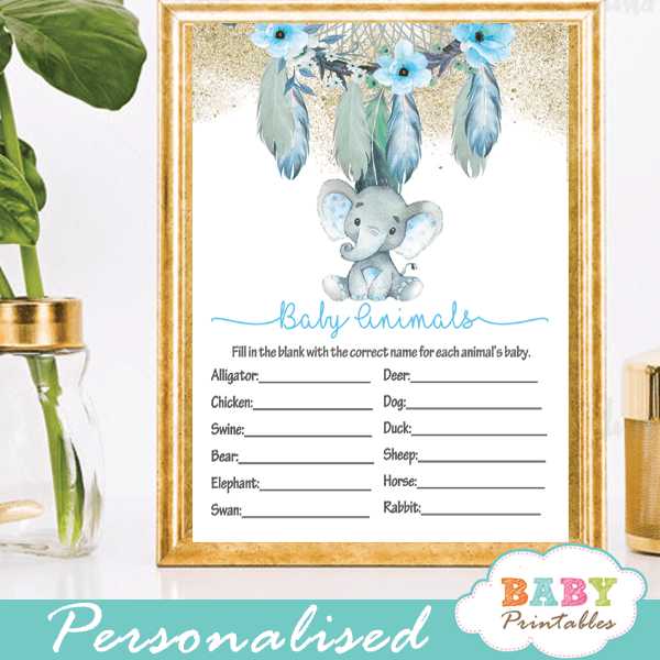 boho chic dream catcher elephant baby shower games aqua blue floral feathers little peanut boy