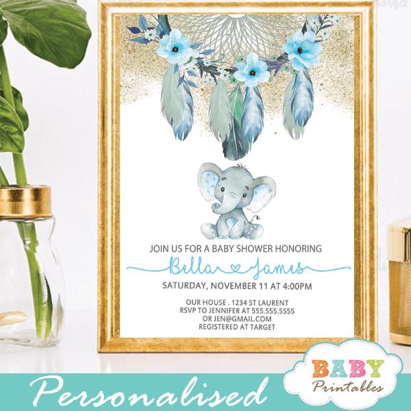 tribal boho chic dream catcher elephant baby shower invitations boy blue aqua feathers gold powder
