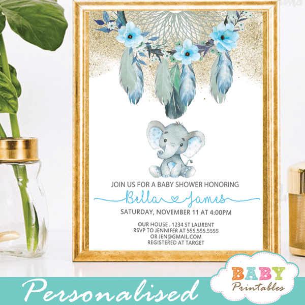 tribal boho chic dream catcher elephant baby shower invitations boy blue aqua feathers gold powder