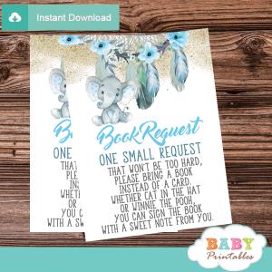 boho chic dream catcher elephant book request cards invitation inserts feathers floral aqua blue boy