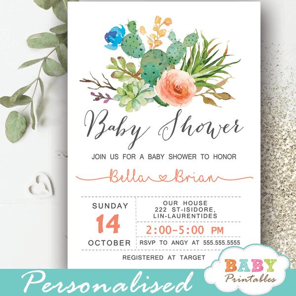 boy girl gender neutral succulent cactus baby shower invitations blue salmon flowers