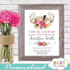 boho chic antler baby shower invitations pink gray girl feathers deer