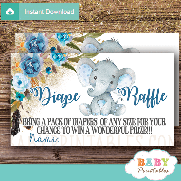 Boho Floral Boy Elephant Diaper Raffle Tickets D439
