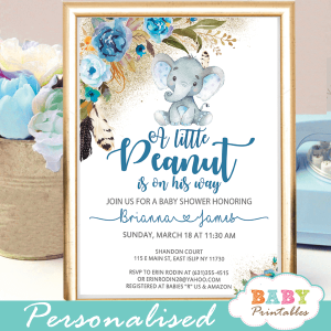 boho feathers blue flowers boy elephant baby shower invitations