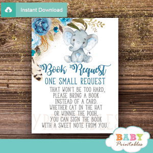 chic blue boho feather floral elephant book request cards little peanut boy