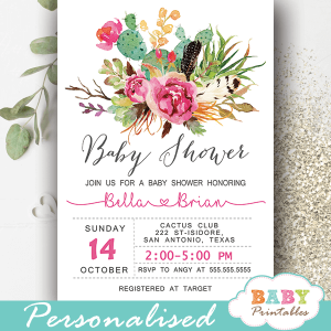 cactus baby shower invites boho feathers pink flowers girl succulent invitations modern elegant