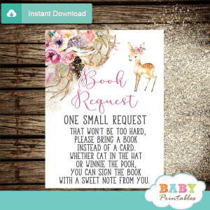 boho antlers pink floral deer books for baby invitation inserts woodland girl