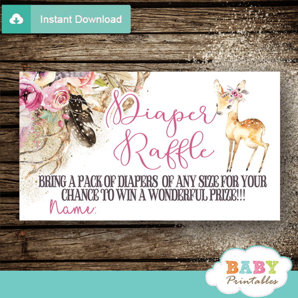 boho chic floral pink deer diaper raffle tickets feather girl