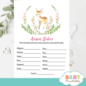 green wreath willow deer baby shower games floral pink blossom watercolor girl woodland forest