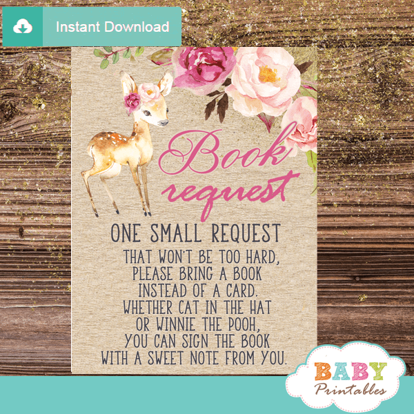rustic kraft paper pink floral deer books for baby invitation inserts woodland girl