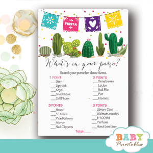 succulent mexican fiesta baby shower games watercolor cactus papel picado paper flags boys girls