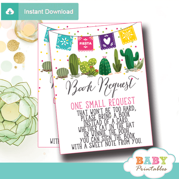 mexican themed fiesta books for baby cards succulent cactus invitation inserts