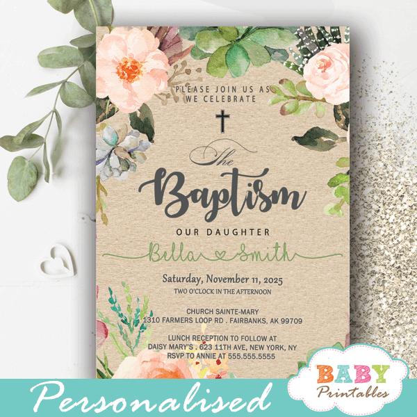 Floral Blush Succulent Baptism Invitations D800 Baby Printables