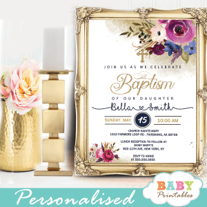 gold purple fuchsia flowers baptism invitations girl invitaciones para bautizo