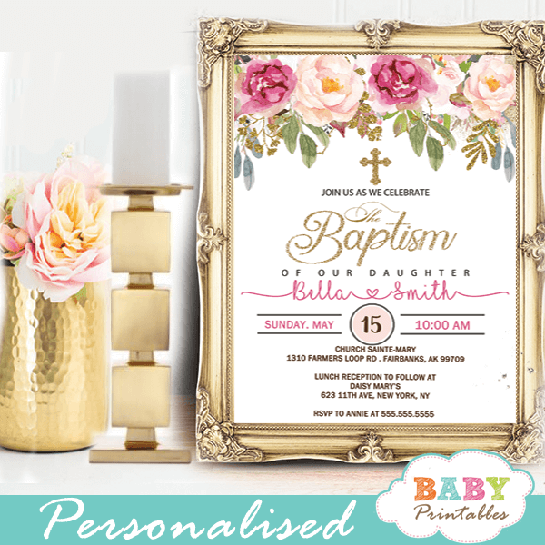 Pink Blush Roses Baptism Invitations D800 Baby Printables