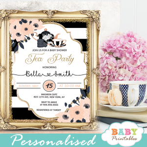tea party baby shower invitations black white stripes gold glitter floral pink salmon girl modern chic