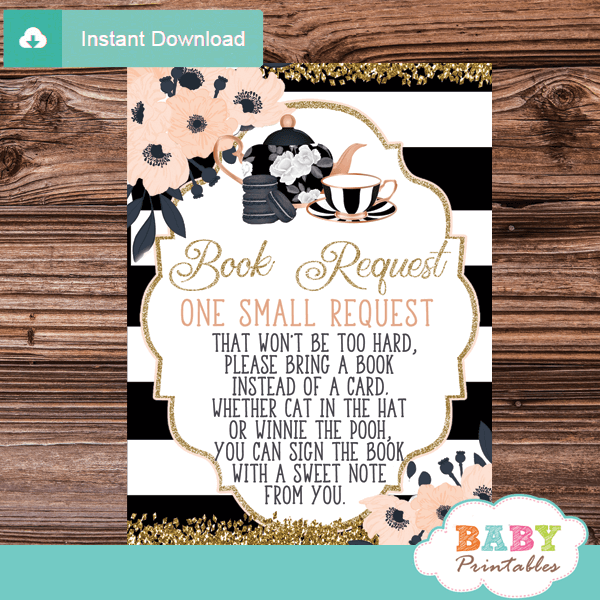 baby shower book request cards tea party invitation inserts chic black white pink gold