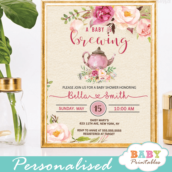 Pink roses vintage tea party baby shower invitations d462 baby vintage tea party baby shower invitations pink roses floral teapot baby brewing filmwisefo