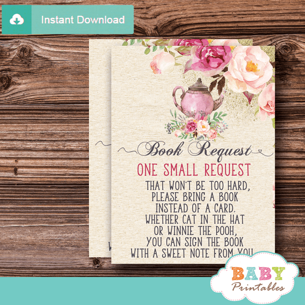 pink roses vintage tea party baby shower book request cards teapot invitation inserts elegant girl