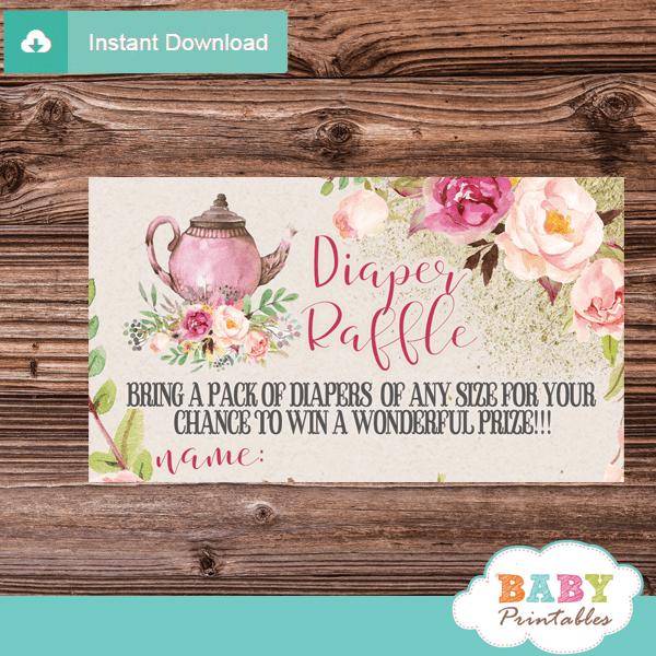 vintage pink floral tea party diaper raffle tickets