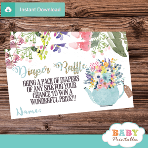 floral teal blue tea party diaper raffle tickets baby boy shower