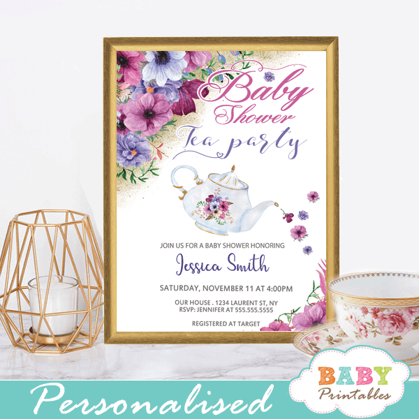 Floral pink purple tea party baby shower invitations d460 baby teapot tea party baby shower invitations girl pink purple flowers filmwisefo