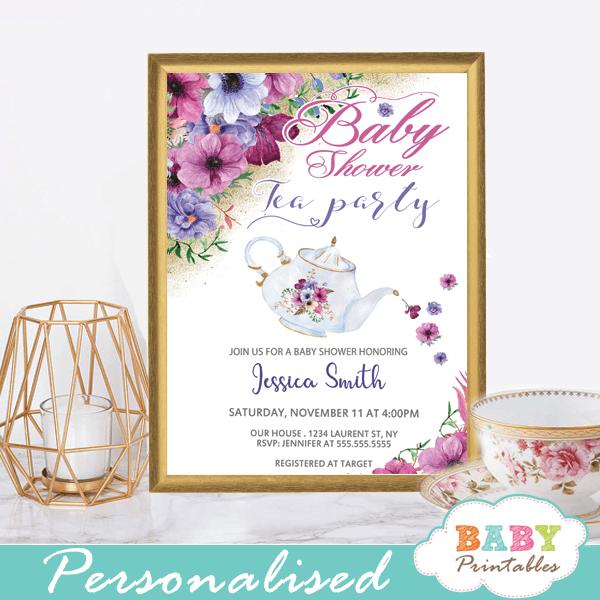 Teapot Tea Party Baby Shower Invitations Pink Purple Flowers
