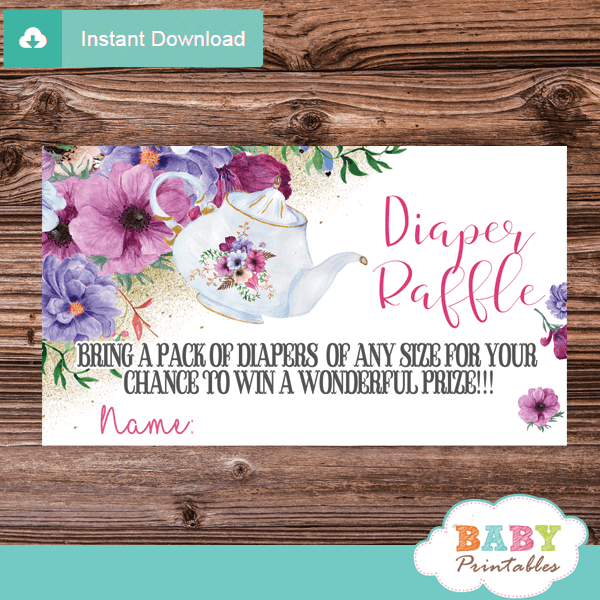 floral pink purple tea party diaper raffle tickets girls elegant teapot
