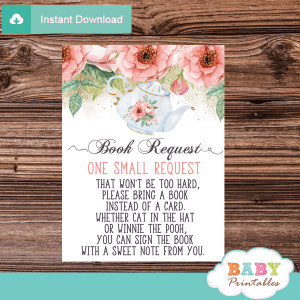 floral pink tea party invitation inserts book request girl