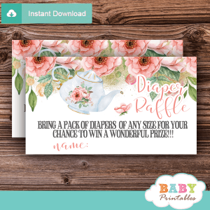 floral pink tea party diaper raffle tickets baby shower games girl